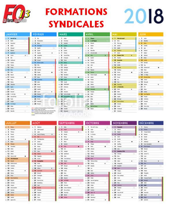 calendrier formation 2018